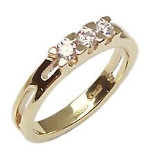 Fedina anello trilogy in oro giallo 18 kt. per fidanzamento fede donna zirconi
