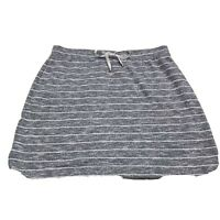 Kenji Short Skirt Gray & White Striped Large Sweatshirt Fabric