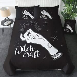 Stars Moon Witchcraft Black King Queen Twin Quilt Duvet Pillow Cover Bed Set