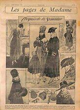 Robe Satin Gris Blouse Tulle Brodé Acier Manteau Mode Fashion Croquis WWI 1916