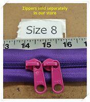 "2 YKK Zipper Sliders for #8 Coil Zipper ~ color ~ F192 ""Pink"""