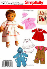 """Simplicity Pattern 1708 15"""" Baby Doll Clothes Dress Nightgown Slip Coat Overalls"""