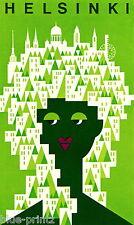 "36""  poster print for glass frame HELSINKI FINLAND  vintage green painting"