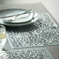 Gold Silver Placemats PVC Dining Wedding Party Kitchen Table Rectangular Mat NEW
