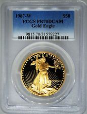 1987-W PCGS PR70 DCAM $50 GOLD American EAGLE 1 Ounce gold PF West Point Proof