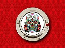 SUGAR SKULL DAY OF THE DEAD WHITE MEXICAN HANDBAG POCKETBOOK HANGER PURSE HOOK