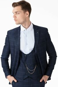 Jack Martin - Peaky Blinders Style - Blue Check Tailored Fit 3 Piece Suit