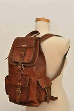 """New 17"""" Leather Genuine Backpack Bag Rucksack & Laptop Vintage Shoulder Travel"""