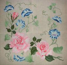 art print~MORNING GLORIES~Victorian vtg Babies repro yardlong blue flowers 32x10