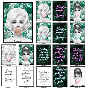 Beautiful Fashion Marilyn Monroe bubblegum,Neon Quote print,Audrey Hepburn print