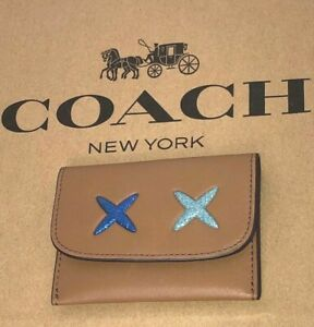 Coach Brown Leather Glitter Cheeky Card Case Mini Wallet F22957 $75 New