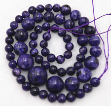 Natural 6-14mm Purple Sugilite Round Jewelry Loose beads 17 inch