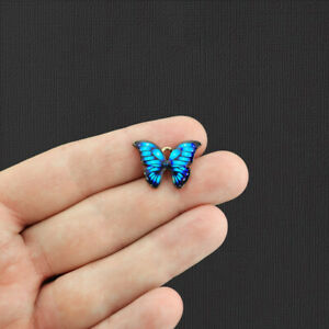 5 Blue Butterfly Gold Tone Enamel Charms - E1077