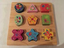 Puzzle plateau bois  - 9 pièces à encastrer - formes géométriques - 12-18 mois