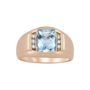 Men's Aquamarine March Birthstone and Diamond Accented Ring in 14K Rose Gold