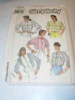 WOMENS UNCUT SIMPLICITY 7560 SEWING Pattern BLOUSE SHIRT TOP BUTTON SIZE 6 8 10