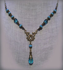 BRASS FILIGREE AQUA BLUE CRYSTAL TURQUOISE GLASS NECKLACE EDWARDIAN VICTORIAN