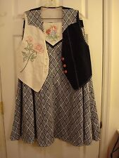 Frontier Pioneer Western Handmade Embroidered Rose 2 Pc Outfit Skirt & Vest M/L