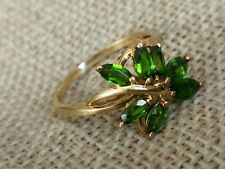 🌿Vtg Natural Russian Chrome Diopside Marquise cut leaf ring solid 9ct gold