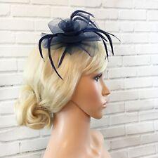 Navy Fascinator Net Rose Flower Feather Head Band Hat Wedding Races