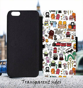 Magic World Characters Doodle Leather Flip Wallet Phone Case Cover