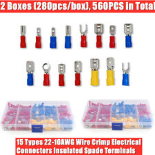 560pcs Assorted Crimp Spade Terminal Insulated Electrical Wire Connectors Kit