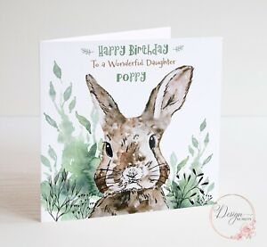 Rabbit Personalised Birthday Card Daughter Granddaughter BROTHER SON