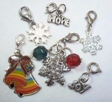 Snowflake Charm Pendant Set in Silver tone Christmas Holiday  *Free Shipping US*