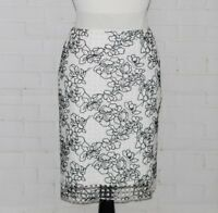 REED KRAKOFF Womens Embroidered Tulle Stretch Floral Skirt Black White Size 2