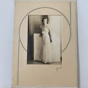 Vintage Gelatin Silver Photo Beautiful Young Woman Lace Dress Art Deco