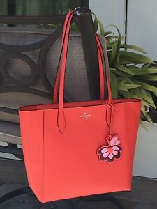 KATE SPADE DANA TOTE SHOULDER BAG ORANGE LEATHER LAPTOP CARRYALL PURSE FLOWER