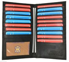 Leather Black Bifold Credit Card Wallet 19 Slots ID Window Men Women Organizer
