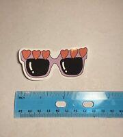 Cartoon Purple Heart Sunglasses Retro 70's Sticker Vinyl Decal