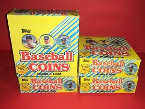 Lot Of (4) 1989 Topps Baseball Coin Boxes From Case (144) Total Packs