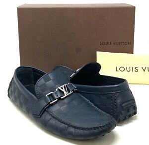 Authentic LOUIS VUITTON Lv Logo Damier Driving Shoes Moccasin #9 US 9 RankAB