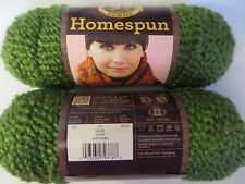 2 sk Homespun yarn 378 OLIVE Lion Brand textured 5 bulky dye lot 126809 green