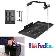 Car Storage Battery Tray+Adjustable Hold Down Clamp Bracket Kit Black Screw Rod
