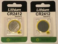 2 x Eunicell CR2412 Remote Key Fob Lithium 3v Battery DL2412 Coin Cell Exp 02/23
