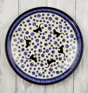 Flacher Teller Essteller Bunzlauer Keramik ø24,5 cm Dekor Katze Handarbeit