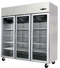 3 Triple Door Commercial Reach In Glass Front Merchandiser Refrigerator Cooler