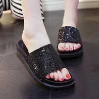 Women's Summer Shiny Sandals Shoes Peep-toe Low Shoes Roman Sandals Flip Flops