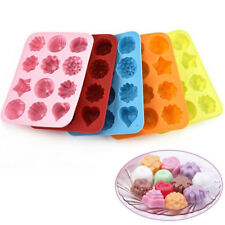 12 cups Flower Silicone Non Stick Cake Mold Chocolate Candy Baking Mould 4-4.5cm