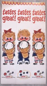 """Vintage Eat It All Cone Cardboard Sign Or Display 26.25"""" X 14.25"""" Dairy Queen"""