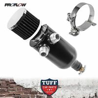 Proflow Twin Inlet 750ml Stealth Black Oil Catch Can Tank & Breather & Drain Tap