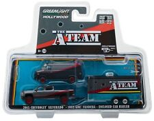 1:64 GreenLight *HITCH & TOW* THE A-TEAM *SILVERADO GMC VAN & TRAILER* NIP
