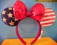 New Disney USA American Ears Sequined Flag Headband Minnie Bow July America 4th