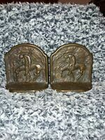 """1928 Connecticut Foundry """"The Last Trail"""" Bronzed Cast Iron Bookends"""