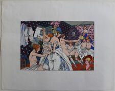 """CURIOSA : Joseph HEMARD très Grand Pochoir Femmes Nues """"Au Temps Passé"""" 1929 #1"""