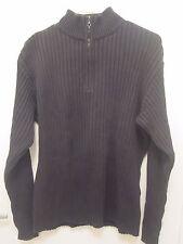 Marlboro Classics Mens 1/3 Zip Sweater Gray Size L Cotton