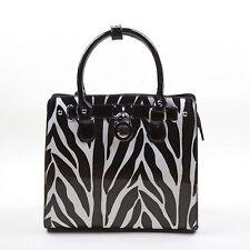 Onorevoli Designer Ispirato TOP MANIGLIA NERA E BIANCA STAMPA ANIMALIER brevetto Handbag